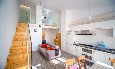 Vista de la reforma integral de apartamento en Luanco.