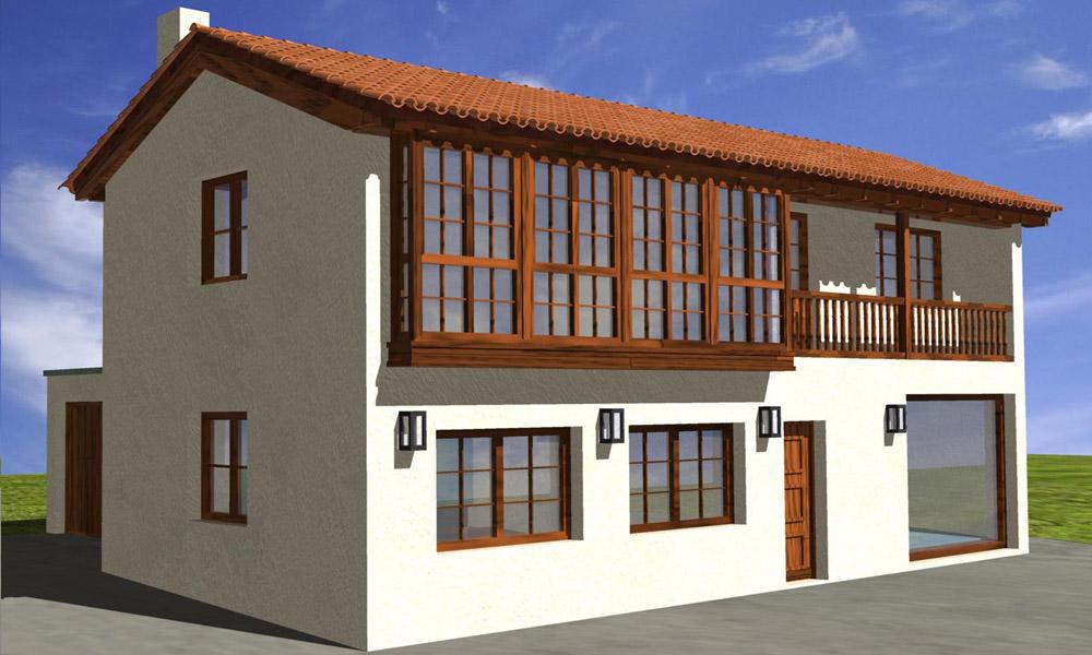 Vista de infografía de vivienda unifamiliar en Naveces